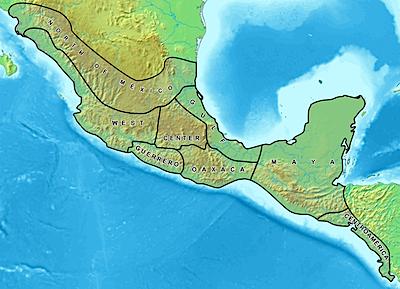 メソアメリカの地図(Map Of Mesoamerica)