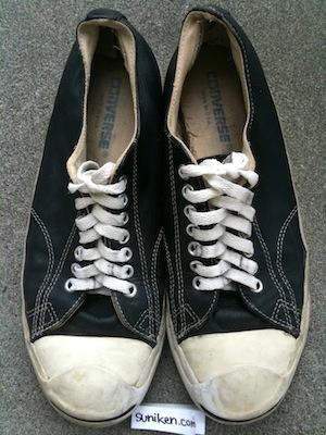 コンバース ジャックパーセル レザースニーカー 黒 メイドインUSA(converse jack purcell black leather made in USA)