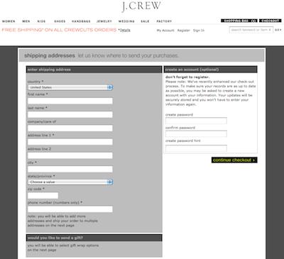 J.クルー(J.Crew)新規会員登録画面