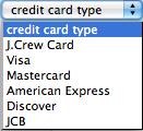 J.クルー(J.Crew)支払いカード選択画面