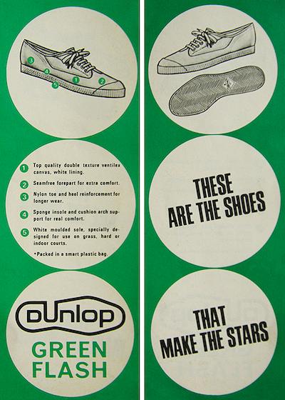 1960s Ladies DUNLOP GREEN FLASH Tennis Trainers