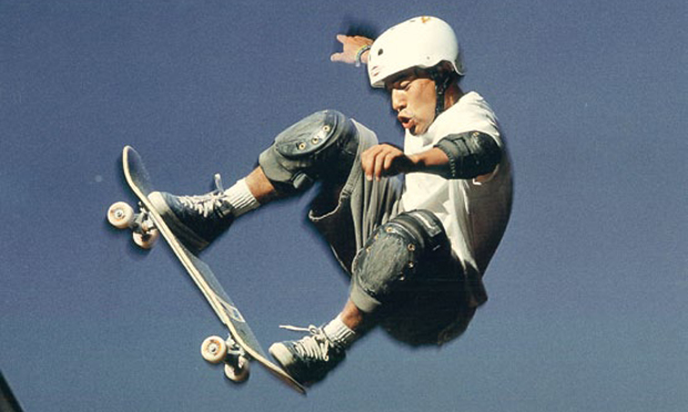 Steve Caballero performing a half cab