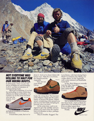 Nike Hiking Boots ad 1980's, featuring John Roskelley and Rick Ridgeway.