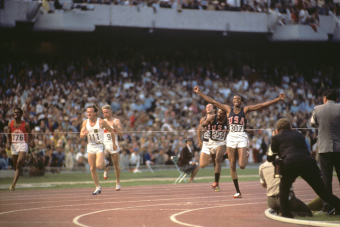 Tommie Smith at Finish Line – 1968 Olympics, 200 Meters Final