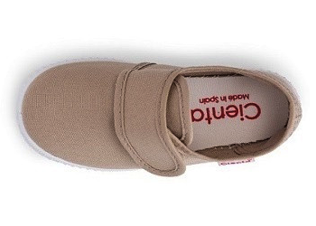 Cienta Velcro Strap Shoe Beige