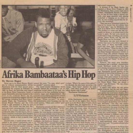Afrika Bambaataa's Hip Hop:The Village Voice (1982/09/21)