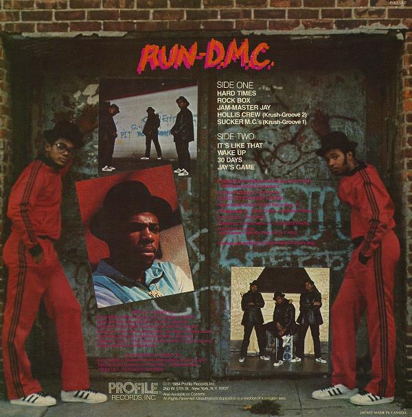 Run-D.M.C. album back cover photo (1984)