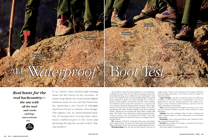 the Waterproof Boot Test by Backpacker (1992)