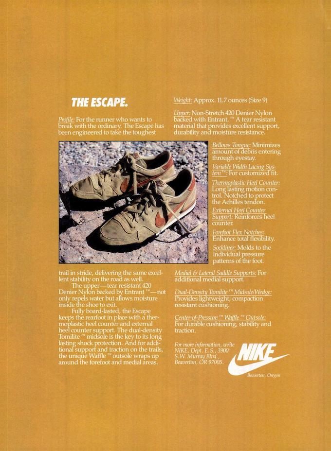 Nike Escape print ad (1984)