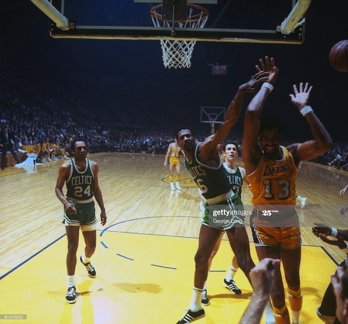 Basketball NBA finals 1969 LA vs Boston
